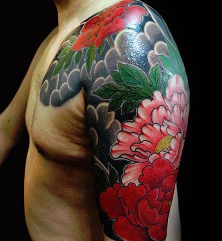 Full sleeve peony tattoo