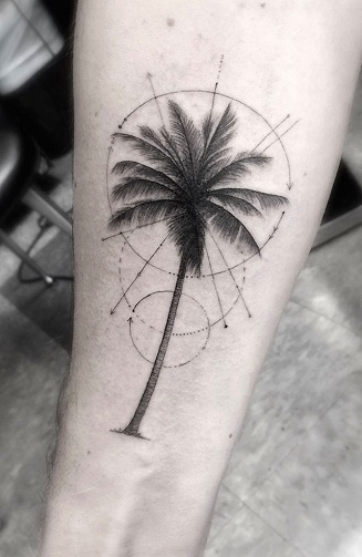 Geometric Palm Tree Tattoo