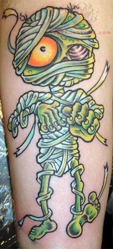 Green Ink Mummy Tattoo Design