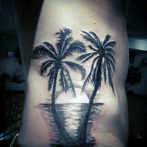 Grey Wash Palm Tree Tattoo