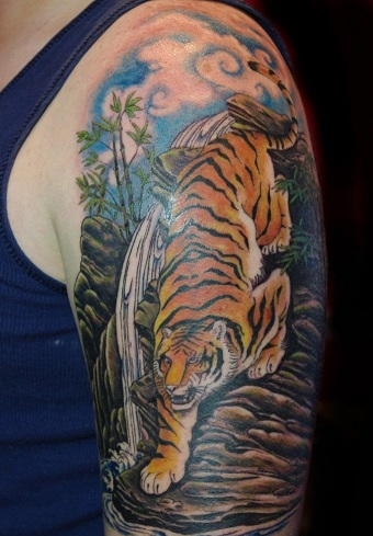 Half Sleeve Tiger Tattoo Design