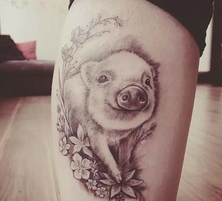Happy smiley Pig Tattoo