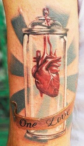 Heart in Bottle Half Sleeve Tattoo