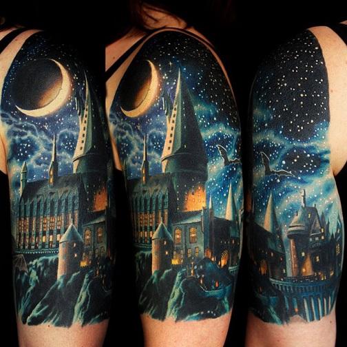 Hogwarts Half Sleeve Design