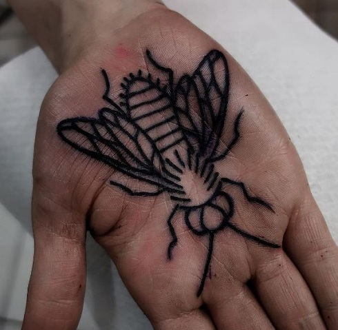 Insect Tattoo On Palm