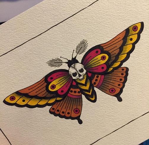 Inspirational Moth Tattoo Design