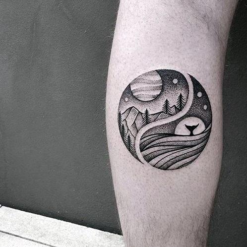 Landscape Dot Work Tattoo
