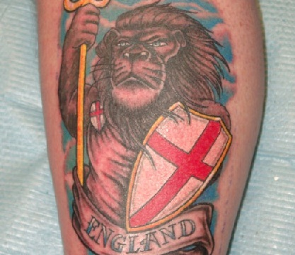 Lion and patriotic tattoo