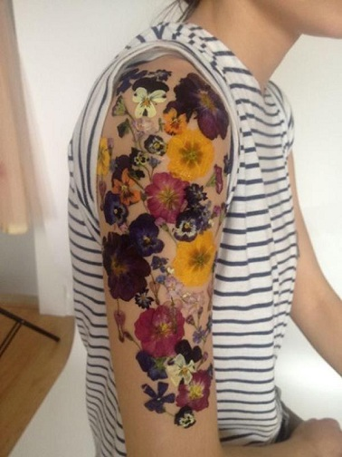 Pansy Sleeve Tattoo