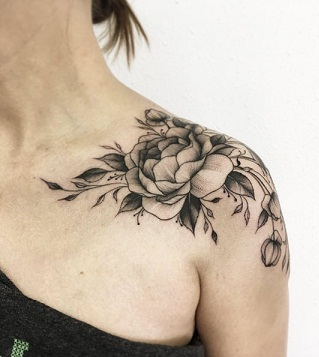 Peony flower tattoo on shoulder neck