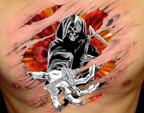 Ripped Skin Reaper Tattoo Design