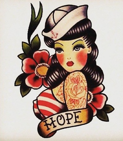 Sailor Look Pin Up girl tattoo