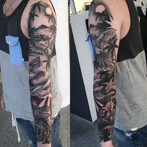 Shaded Palm Tree Tattoo
