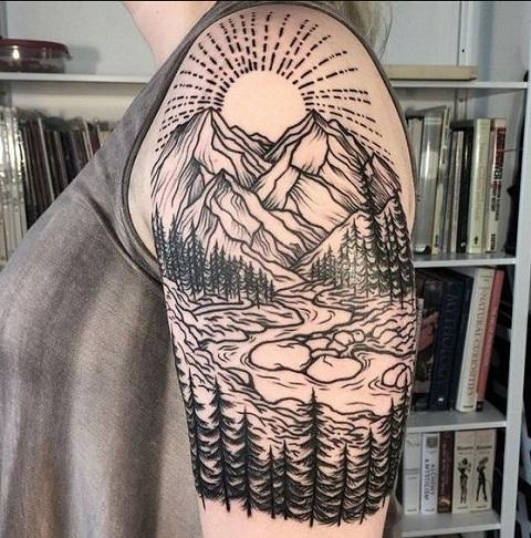 Simple Nature Tattoo Design