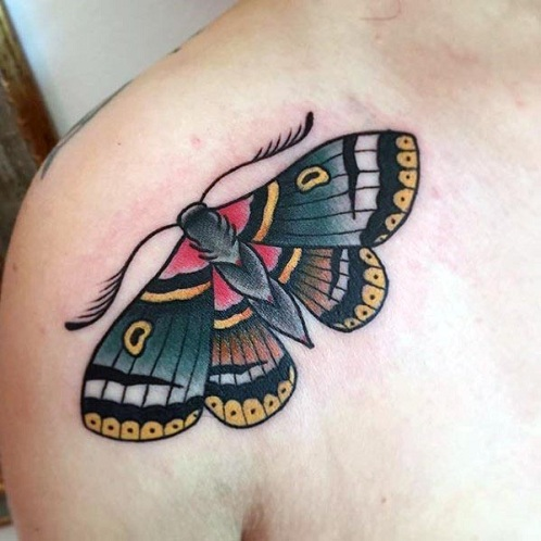 Traditional Moth Tattoo Design