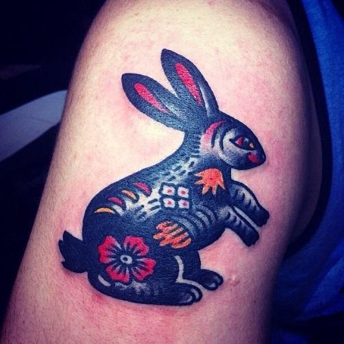 Traditional Rabbit Tattoo Design