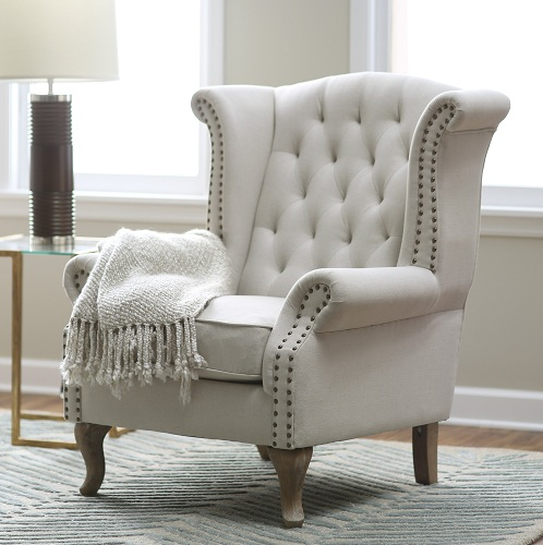 White Dotted Border Arm Chairs