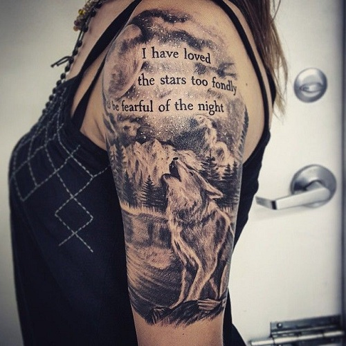 Wolf with Quotes Tattoo for Half Sleeve