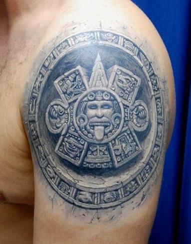 3D Stone Work Tattoo Design