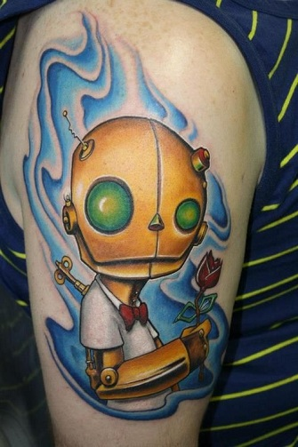 Amusing Robot Tattoo Design