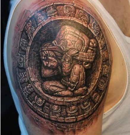 Ancient Mayan Stone Work Tattoo Design
