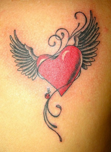 Angel Winged Strawberry Tattoo