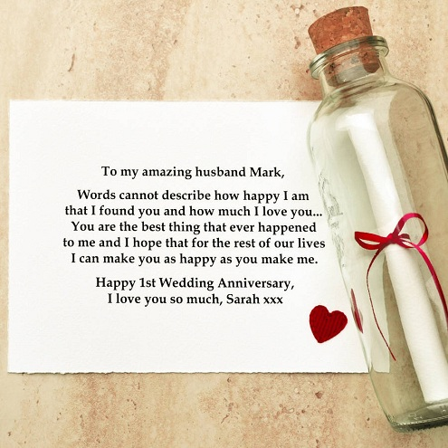 Try Out This First Wedding Anniversary Scroll Or Message In A Bottle Idea As Gift You Need To Write Down Little Note Poem For Your Spouse And Then