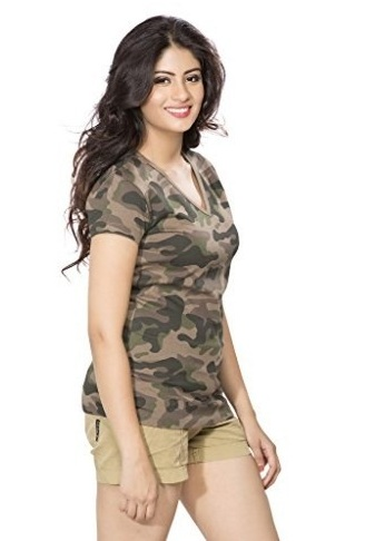 Army V-neck T-Shirt for Women