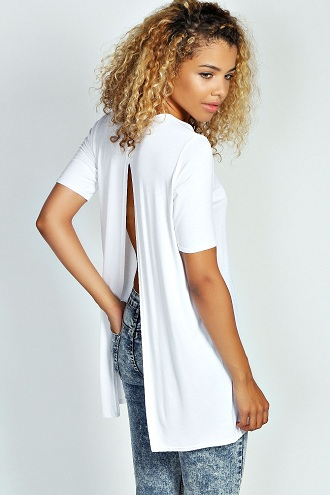 Back Zipper Longline T-Shirt Women