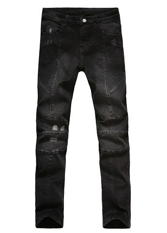 Bikers Faded Black Denim jeans for Men