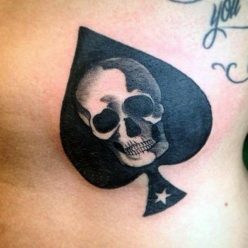 Black Spade Skull Tattoo Design