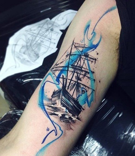 Blue Ship Tattoo