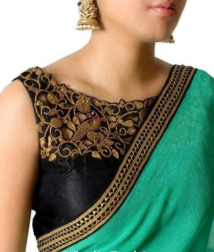 Boat Neck Saree Blouse Design