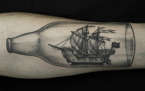 Bottle Ship Tattoo