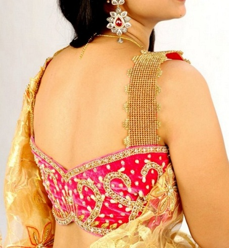 Butterfly Pattern Neck Blouse for Saree