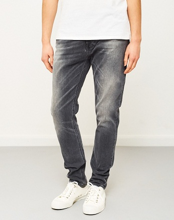 Casual Faded Gray Mens Denim Jeans