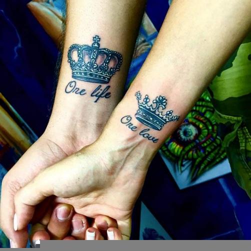 Couple Love Script Tattoos
