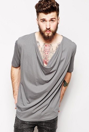 Cowl Neck Men's T Shirts