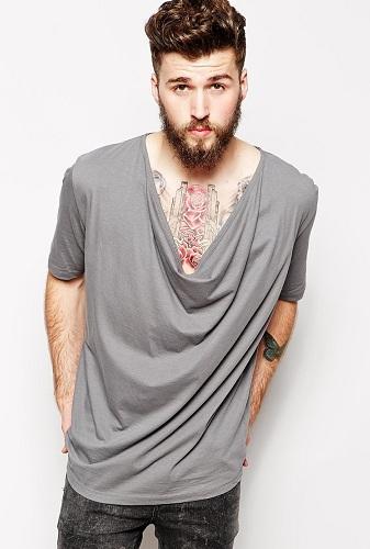 Cowl Neck Men's T Shirts