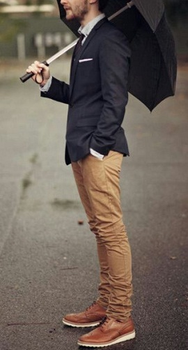 Dapper Style Look in Khaki Jeans