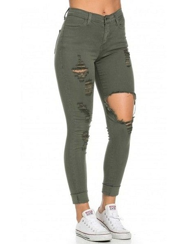 Distressed Green Jeans