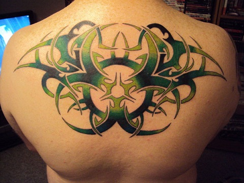 Dramatic Tribal Back Tattoo