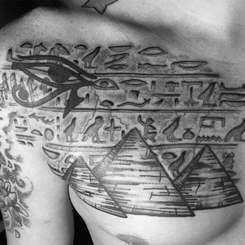 Egyptian Pyramids 3D Stone Work Tattoo Design