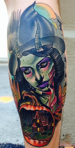 Evil Witch Tattoo Design