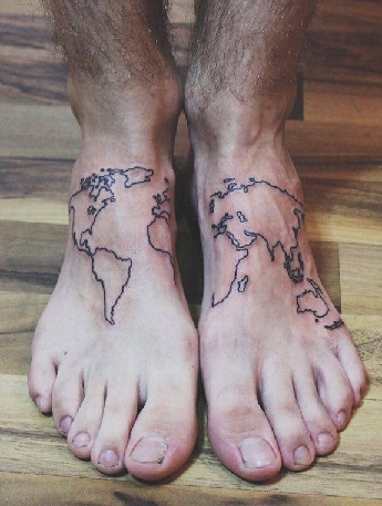 Fabulous World Map Tattoo Designs