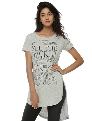 Flare Longline T-Shirt for Women