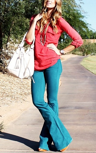 Flared Colored Jeans