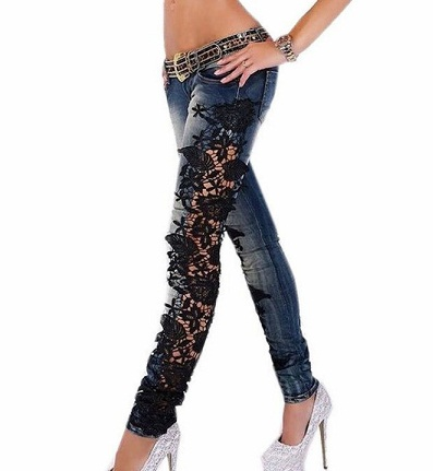 Floral Net Designed High Rise Jeans