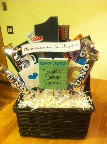 Best tips on 1st anniversary gift ideas styles at life collect all the little things that your spouse likes and put them in a lovely basket wrap it with ribbon and you are set to give a first anniversary gift negle Gallery