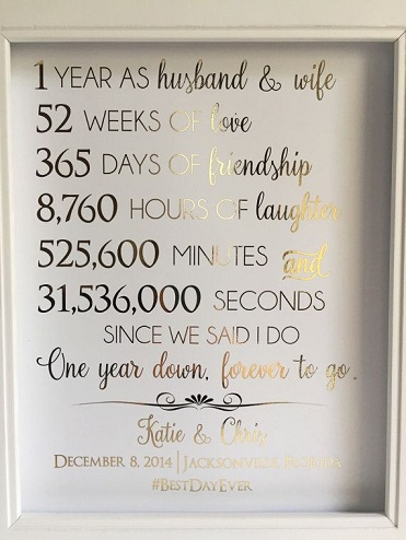 1 Gold Foil Print Frame Among The Top 1st Wedding Anniversary Gifts